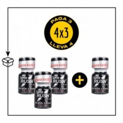 PACK 4 POPPERS SUPER RUSH BLACK LABEL 10ML